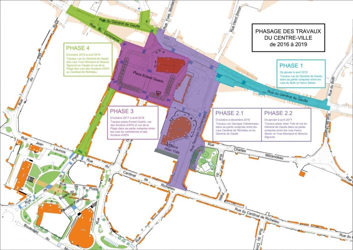 Les phases de travaux de rénovation du centre-ville de Saint-Jean-de-Monts