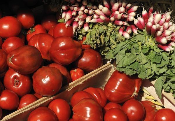 Tomates et radis sur le marché couvert de la plage à Saint Jean de Monts en Vendée